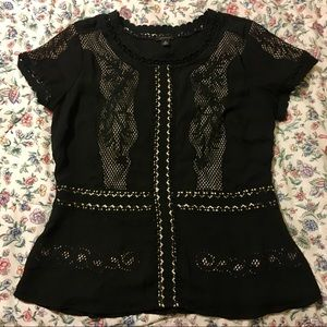 Black Career Work Blouse with Lace Cutouts